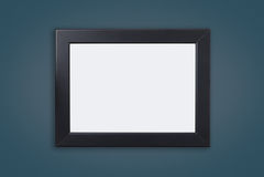 Leerer schwarzer Fotorahmen auf blauer Marine lizenzfreies stockfoto