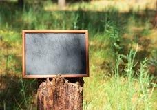 Leerer schwarzer Holzrahmen, der am Baumstamm hängt Stockfotografie