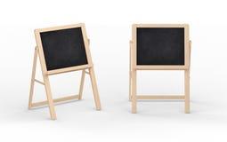 Leerer schwarzer Tafelstand mit Holzrahmen, Beschneidungspfad I Stockfotos