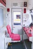 Leerer Sitz innerhalb des Leitstellezugs Stockfoto