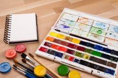 Leerer Sketchbook auf Kreidebrett mit Kunstversorgungen herum Spott herauf Illustration oder Kunst Stockbild