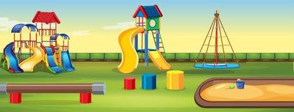 Leerer Spielplatz mit Ausrüstung lizenzfreie abbildung