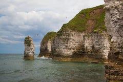 Leerer Strand auf Flamborough-Kopf, Bridlington in Yorkshire, Engla Lizenzfreies Stockbild