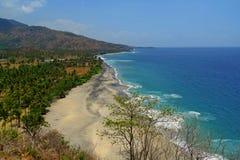 Leerer Strand gezeichnet durch Palmen im tropischen Paradies lizenzfreie stockbilder