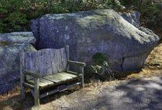 Leerer Stuhl im Wald Stockfotos