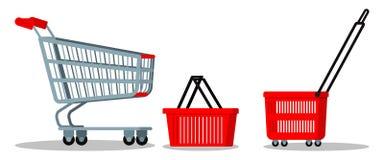 Leerer Supermarktchrommetalllaufkatzenwagen mit Rädern, roter plasyic Einkaufskorbikonensatz lizenzfreie abbildung