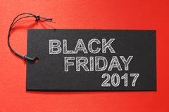 Leerer Text Freitags 2017 auf einem schwarzen Tag Lizenzfreies Stockbild