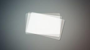 Leerer transparenter Visitenkartestapelplastikspott oben Stockfotos