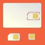 Leerer Vektorsatz der SIM-Karte Handychip Stockfotos