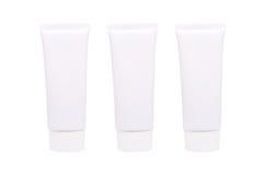 Leerer weißer kosmetischer Rohrsatz der Creme oder des Gels lokalisiert auf Weiß Stockbilder