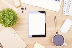 Leerer weißer Tablettenschirm Stockfoto