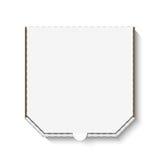 Leerer weißer Papppizzakasten Stockbild