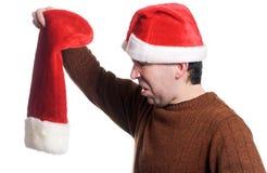 Leerer Weihnachtsstrumpf stockbild