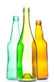 Leerer Wein und Bierflaschen Stockbilder