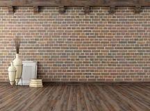 Leerer Weinleseinnenraum mit Backsteinmauer lizenzfreie abbildung