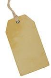 Leeres beige Weinlese-Pappverkaufs-Tag, leerer Schmutz-Preisschild Pricetag-Ausweis, lokalisierter Grungy Makronahaufnahme-vertik Lizenzfreie Stockfotografie