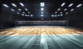Leeres Berufsvolleyballfeld in den Lichtern Stockbild