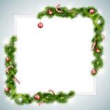 Leeres Blatt Papier mit Weihnachtsattributen Lizenzfreie Stockbilder