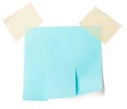 Leeres blaues Papier mit reißen Vorsprünge auseinander lizenzfreie stockfotos