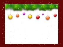 Leeres Brett mit Weihnachtsbällen stock abbildung