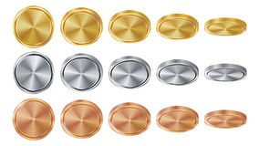 Leeres 3D Gold, Silber, Bronzemünzen Vector Leerkartensatz Realistische Schablone Flip Different Angles Investition, Netz, Spiel Stockbild