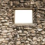 Leeres Fenster auf Felsenwand Stockbilder
