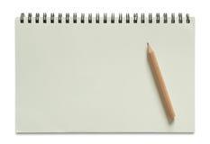 Leeres gewundenes Notizbuch und Bleistift Stockfotos