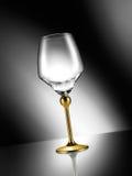 Leeres Glas mit goldenem Stamm Lizenzfreie Stockfotos