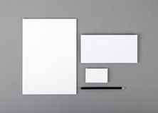 Leeres grundlegendes Briefpapier. Briefkopf flach, Visitenkarte, Umschlag Lizenzfreie Stockfotos