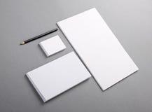 Leeres grundlegendes Briefpapier. Briefkopf flach, Visitenkarte, Umschlag Lizenzfreie Stockbilder