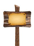 Leeres hölzernes Zeichen mit altem Papier Lizenzfreies Stockfoto