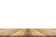 Leeres helles hölzernes Tischplatteisolat auf weißem Hintergrund Lizenzfreies Stockbild