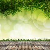 Leeres Holz und abstrakter Hintergrund über bokeh Lizenzfreie Stockbilder