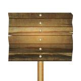 Leeres Holzschild lokalisiert auf Weiß lizenzfreie stockfotografie