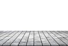 Leeres Holztischspitzen lokalisiert auf weißem Hintergrund stockbild
