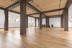 Leeres Innen des Dachbodendachboden-offenen Raumes mit Strahlen, Fenster, Treppenhaus, Bretterboden stock abbildung