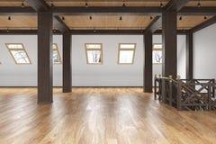 Leeres Innen des Dachbodendachboden-offenen Raumes mit Strahlen, Fenster, Treppenhaus, Bretterboden vektor abbildung