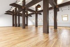 Leeres Innen des Dachbodendachboden-offenen Raumes mit Strahlen, Fenster, Treppenhaus, Bretterboden lizenzfreie abbildung