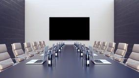 Leeres Konferenzzimmer und Konferenztisch mit Laptops 3d übertragen Illustration 3d Stockbilder
