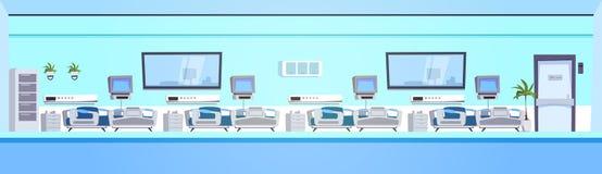 Leeres Krankenhaus Ward Background Clinic Room Interior mit Bett-horizontaler Fahne Lizenzfreie Stockfotos