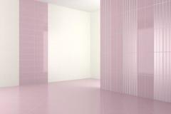 Leeres modernes Badezimmer mit purpurroten Fliesen Stockbild