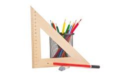 Leeres Notizbuch und Stift lokalisiert auf weißem Hintergrund Lizenzfreies Stockfoto