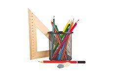 Leeres Notizbuch und Stift lokalisiert auf weißem Hintergrund Stockbild