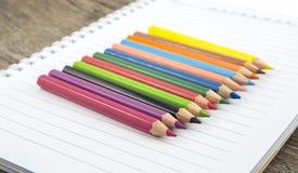 Leeres Papier und bunte Bleistifte Lizenzfreies Stockbild