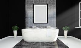 leeres Plakat auf einem warmen schwarzen Badezimmermodell stockfotos