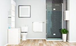 leeres Rahmenmodell auf minimalem grauem Badezimmer lizenzfreies stockfoto