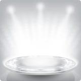 Leeres rundes Regal für Ausstellung 3d Scheinfacette Stockbild