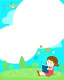 Leeres Schablonenmädchen, das ein Buch liest Lizenzfreie Stockbilder