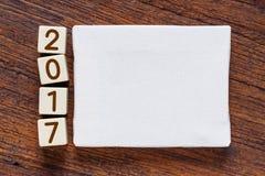 Leeres Segeltuch mit dem Jahr 2017 numerisch Stockbild