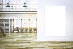 leeres Segeltuchmodell auf rendring Innenraum des Büros 3d lizenzfreies stockfoto